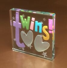 Spaceform Twins Glass Token New Baby Twins Gift Newborn Birth Gifts Ideas 1470