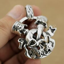 925 Sterling Silver Huge Heavy  Unique Skull Cross Mens Biker Pendant 9P008D JP