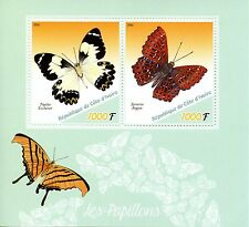 Ivory Coast 2016 MNH Butterflies 2v M/S Papillons Insects Butterfly Stamps