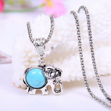 Natural Turquoise Jewelry Christmas Present Tibet Silver Elephant Necklace NEW