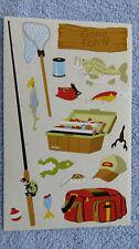 Mrs Grossman GONE FISHING Giant Sticker Sheet of Favorite Fishing Gear