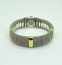 "Steven Lagos Caviar 8"" Sterling Silver and 18K Yellow Gold Bracelet"