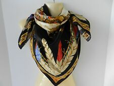 "Versace Foulard 100% Silk Multi-Color Scarf 34"" Indian Chief Feathers NWT Italy"