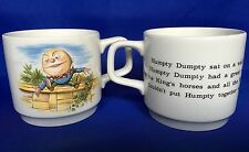 2 Humpty Dumpty Mug VTG Ceramic Cup Alice In Wonderland England Johnson Brothers
