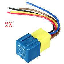 2Pcs 30/40 A 12V AMP Relay With Wiring Harness Socket Car Auto Automotive 5 Pin