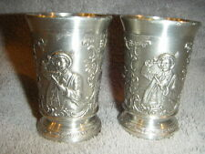pair set of 2 SOUVENIR PEWTER  ZINN,  94 % CUP/ SHOT GLASSes!! Made in GERMANY