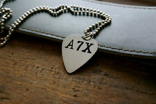 Hand Made Etched Nickel Silver Guitar Pick Necklace - Avenged Sevenfold
