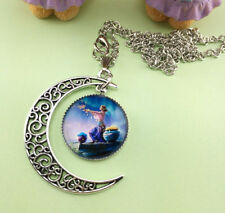 Women Virgo Crescent Moon Glass Cabochon Pendant Necklace