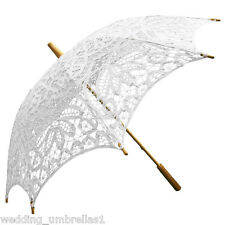 WHITE Battenburg Lace Bridal Wedding Sun Parasol Umbrella