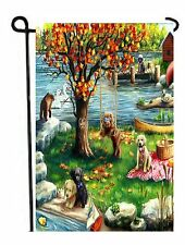 Chocolate, yellow, Brown Labrador Retriever painting GARDEN FLAG Dog First Fall