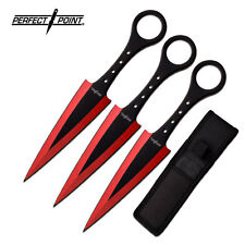 "7.5"" Throwing Kunai Set Knife Ninja Combat Tactical RED S W Hunting Naruto 106RD"