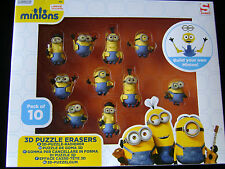 NEW 10 MINION 3D PUZZLE ERASERS RUBBERS BUILD YOUR OWN MINION MIN3-6170