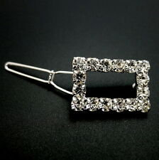 Small Silver Rectangle Rhinestone Crystal Tige Boule Barrette Updo Hair Clip Pin