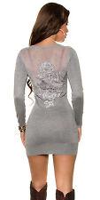 Trendy Longpulli mit sexy Rücken Pullover Longshirt Minikleid Oberteil Silvester