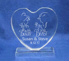 Engraved Beauty and the Beast Heart Wedding Cake Topper Personalized FREE
