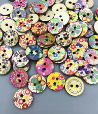 100pcs NEW  Mixed flowers pattern Wooden buttons sewing scrapbooking Crafts 15mm