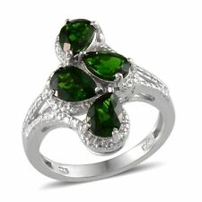 Russian CHROME DIOPSIDE Pear RING in Platinum Overlay Sterling Silver 3.15 Cts.