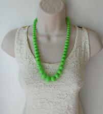 "Bright & funky 24"" long neon green graduated bead necklace & button earring set"