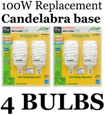 (4 Pack) CANDELABRA BASE 100 Watt = 23 W SOFT WHITE Sylvania CFL Light Bulbs