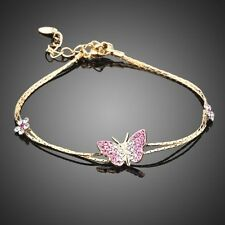 Gold Plated Pink Butterfly Crystal Rhinestone Chain Bracelet Bangle Women Gift