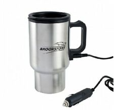 BROOKSTONE STAINLESS STEEL HEATED TRAVEL MUG FLASK WITH CAR CHARGER 12v AUTO