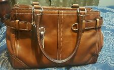 Coach F11199 Brown Hamptons Supple Leather Carryall Tote Bag