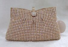 Silver /Gold Pleated Clutch Evening Purse Bag & Swarovski Crystals US Stock