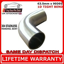 "2 1/2"" (63mm) 90 Degree Tight 1D 304 Stainless Steel Exhaust Mandrel Bend"