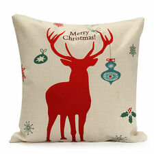 Christmas Red Deer Cotton Line Pillow Case Sofa Winter Cushion Cover Home Decor