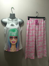 BNWT Ladies/Teenage Girl Sz 16/18 Cute Barbie Print Stretch Summer Style Pyjamas