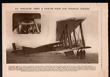 WWI Biplan Farman Goliath Toussus-le-Noble Yvelines/ Fusiliers 1919 ILLUSTRATION