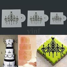 3x Chandelier DIY Border Cake Stencil Decorating Sugarcraft Fondant Baking Tool