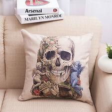 Decorative Skull Linen Cotton Throw Pillow Case Sofa Home Decor Cushion Cover
