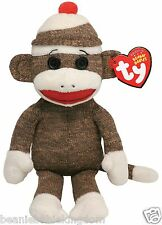 TY SOCKS THE BROWN AND WHITE STRIPED SOCK MONKEY