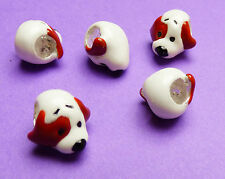 10mm 925 Sterling Silver European Style Enamel Spotted Dog Charm Spacer Bead 1pc