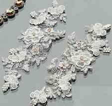1 Pair Off White Bridal Wedding Rose Gold Flower Floral Rhinestone Lace Applique