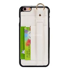 PU Leather Card Holder Stand Case Ring Belt Hand Strap For iPhone 6s/6s Plus