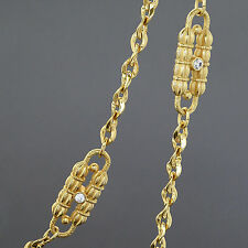 CAMROSE & KROSS JACKIE KENNEDY DUAL CHAIN STATION PAPERCLIP RHINESTONE NECKLACE