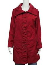 NWT RAINFOREST Womens Travel Rain Jacket w Hood -Ruched Front - Carmine Red - XS