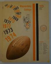 Vintage Football Media Press Guide Waynesburg College 1974