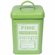 Retro Green Enamel Large 2.6L Biscuit Cookie Storage Tin Jar Treat Container Pot