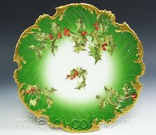 BEAUTIFUL LIMOGES FRANCE HAND PAINTED HOLLY BERRIES PLATE (A)