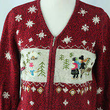 Ugly Christmas Sweater S Tacky Holiday Party Ideas Cardigan Jumper Red Small