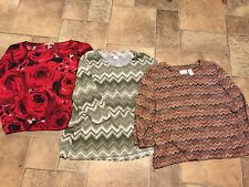 LINKS & ALFRED DUNNER & DORA Red Rose Womens Shirts Tops Blouses Sz XL Lot 3 :