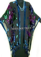 Caftan Kimono Duster Beaded Silk Burnout Velvet Tye Dye Blue Multi Maya Matazaro