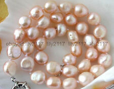 """Charm Fashion 10X12MM PINK BAROQUE FRESHWATER CULTURED PEARL NECKLACE 18"""""""