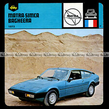 #08.12 MATRA SIMCA BAGHEERA 1973 - Fiche Auto Car Card