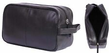Real Leather WASH BAG For Mens Travel Toiletries Shaving Kit Cosmetic Bag Black