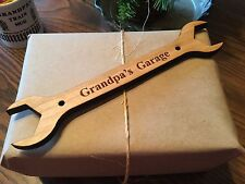 GRANDPA'S GARAGE Wrench Shaped Wooden Personalized Sign / Automotive Mechanic