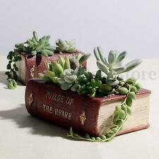 Vintage Resin Garden Flower Herb Planter Succulent Pot Book Trough Box Plant Bed